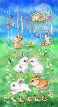 Animals Fabric Panel- Bunny Meadow
