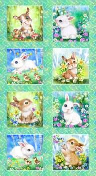 Animals Fabric Panel- Bunny Meadow Blocks