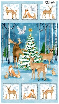 Christmas Fabric Panel- Christmas Woodland