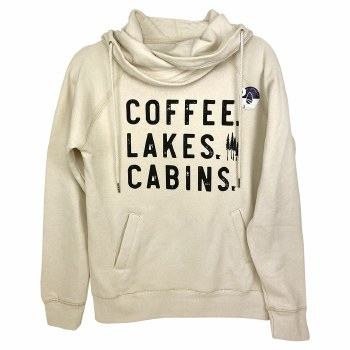 Coffee, Lakes, Cabins. Double Hoodie- Small