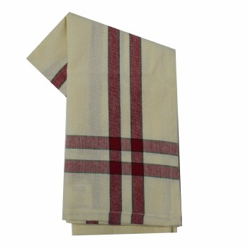 """Two Striped Cream 20""""x28"""" Tea Towel- Cranberry with Black"""