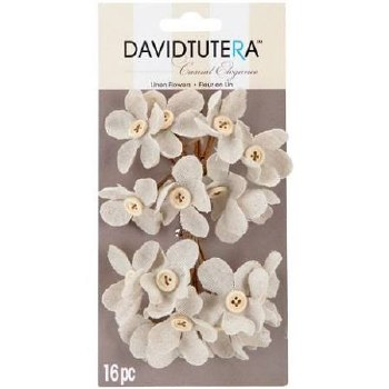 Wired Linen Flowers- Cream with Button