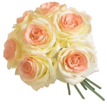 Ashley Rose Wedding Bouquet- Cream & Peach