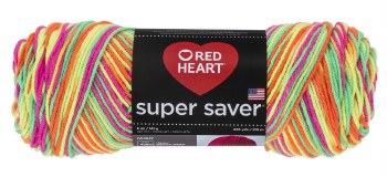 Red Heart Super Saver Yarn, Mulit-Color- Day Glow