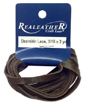 RealLeather Deerskin Lace, 2yds- Chocolate Brown