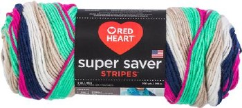 Red Heart Super Saver Yarn, Stripes- Derby