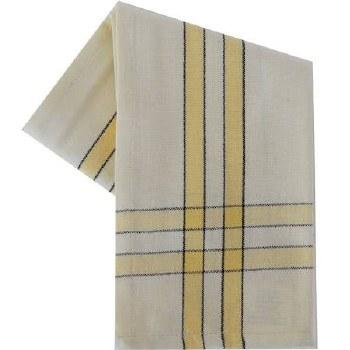 "Two Striped Cream 20""x28"" Tea Towel- Dijon with Black"