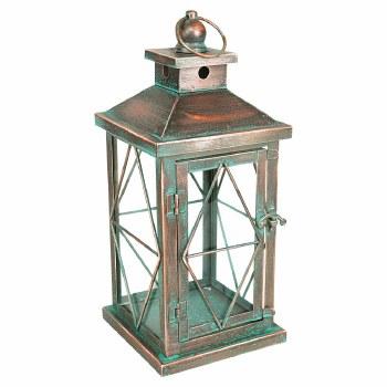 Metal Distressed Lantern- Copper w/ Green