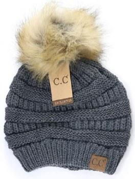 CC Knit Beanie w/ Fur Pom- Dark Grey