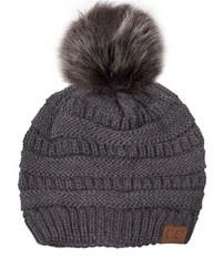 CC Knit Beanie w/ Pom- Dark Grey