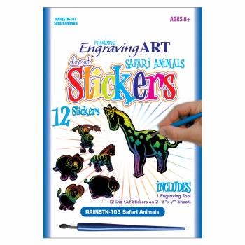 Engraving Art Stickers Set- Rainbow Safari Animals