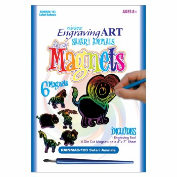 Engraving Art Magnets Set- Rainbow Safari Animals
