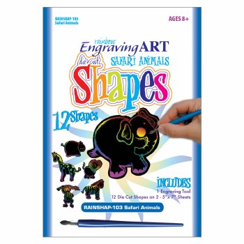 Engraving Art Shapes Set- Rainbow Safari Animals