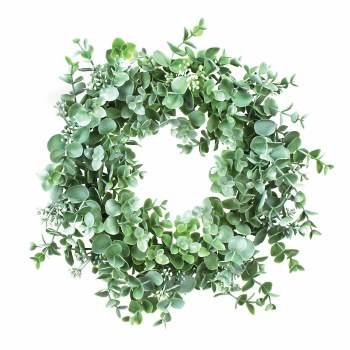 "Eucalyptus Wreath/Candle Ring, 14""- Bright Green"