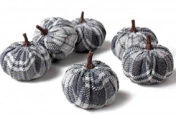 Fabric Gingham Pumpkin X 6 In