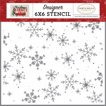 Christmas Market Designer 6x6 Stencil- Falling Snowflakes