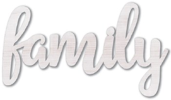 "9"" White Wood Word- Family"