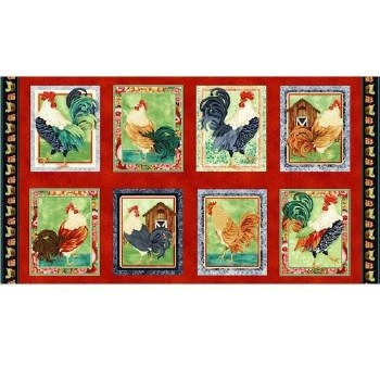 Farm & Country Fabric Panel- Farm Raised Chicken Blocks