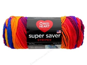 Red Heart Super Saver Yarn, Stripes- Favorite