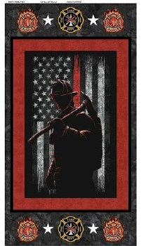 Patriotic Fabric Panel- Firefighter