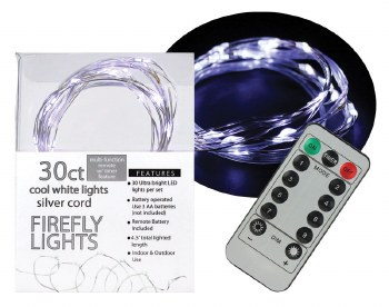 30ct Firefly Lights w/ Remote- Cool White