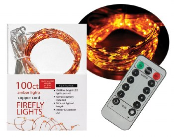 100ct Firefly Lights w/ Remote- Amber