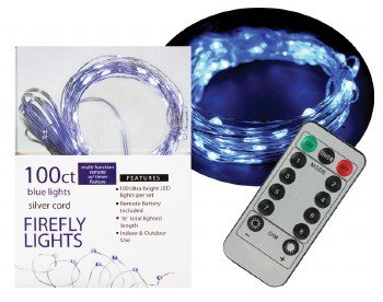 100ct Firefly Lights w/ Remote- Blue