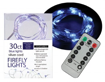 30ct Firefly Lights w/ Remote- Blue