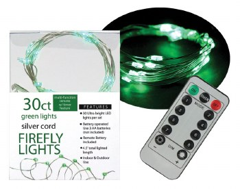 30ct Firefly Lights w/ Remote- Green