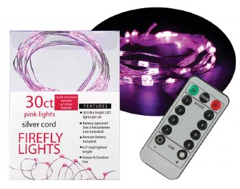 30ct Firefly Lights w/ Remote- Pink