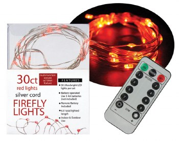 30ct Firefly Lights w/ Remote- Red