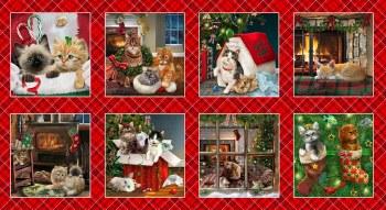 Christmas & Winter Fabric Panel- Fireside Kittens