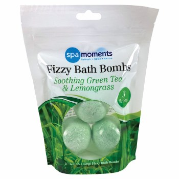 Spa Moments Fizzy Bath Bombs, 3pk- Green Tea & Lemongrass