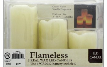 3pc. Flameless LED Candles - Ivory