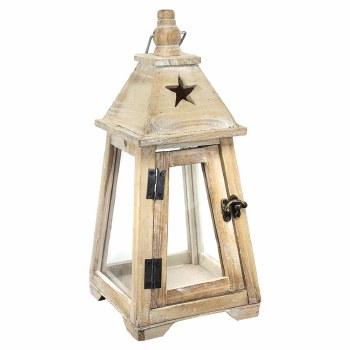 Wood Flared Lantern w/ Star