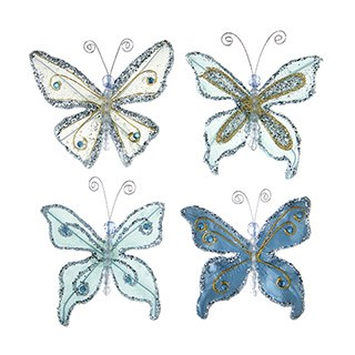 Butterfly Embellishments, 4ct- Glitter Blue