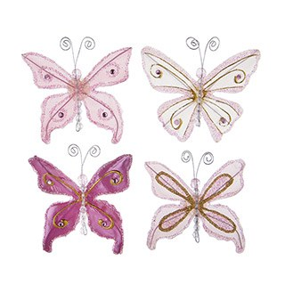 Butterfly Embellishments, 4ct- Glitter Pink