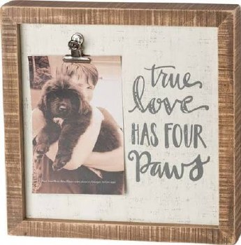 Wood Box Sign w/ Photo Clip- Four Paws
