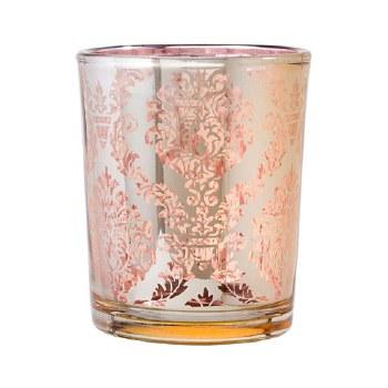 Glass Votive- Plating, Pink & Gold