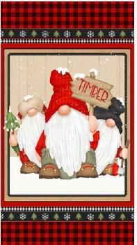 Christmas & Winter Fabric Panel- Timber Gnomies