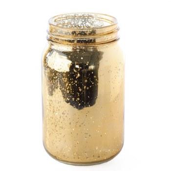 "Glass Jar- Gold, 5.5"""