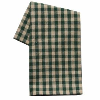 "Small Check 20""x28"" Tea Towel- Green"