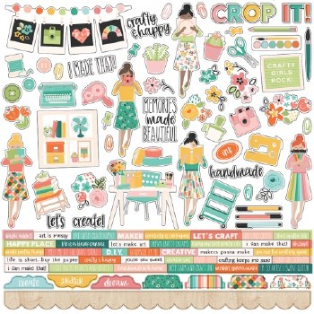 Hey Crafty Girl Bits & Pieces Stickers- 12x12 Sheet