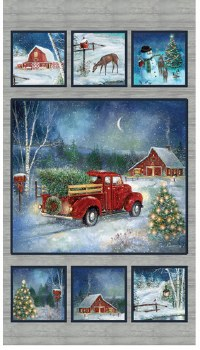 Christmas & Winter Fabric Panel- Holiday Journey