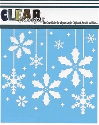 Clear Scraps 12x12 Stencil- Holly Bulbs