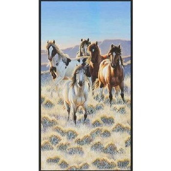 Animals Fabric Panel- Horses