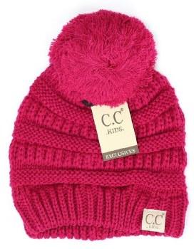 Kid's CC Knit Beanie w/ Pom- Hot Pink