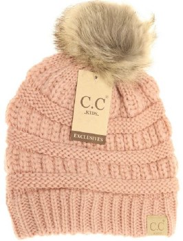 Kid's CC Knit Beanie w/ Natural Pom- Indie Pink