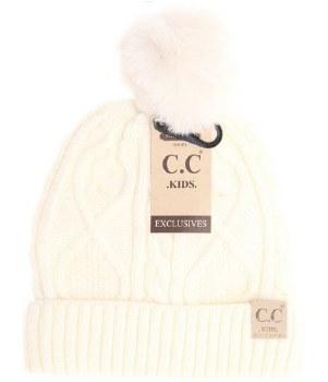 Kid's CC Cable Knit Beanie w/ Pom- Ivory