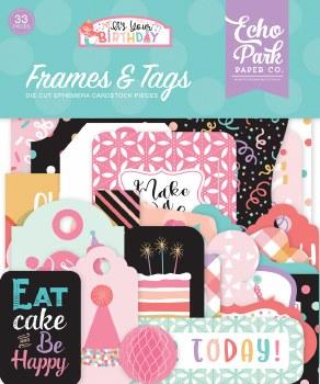 It's Your Birthday Girl Ephemera Die Cuts- Frames & Tags